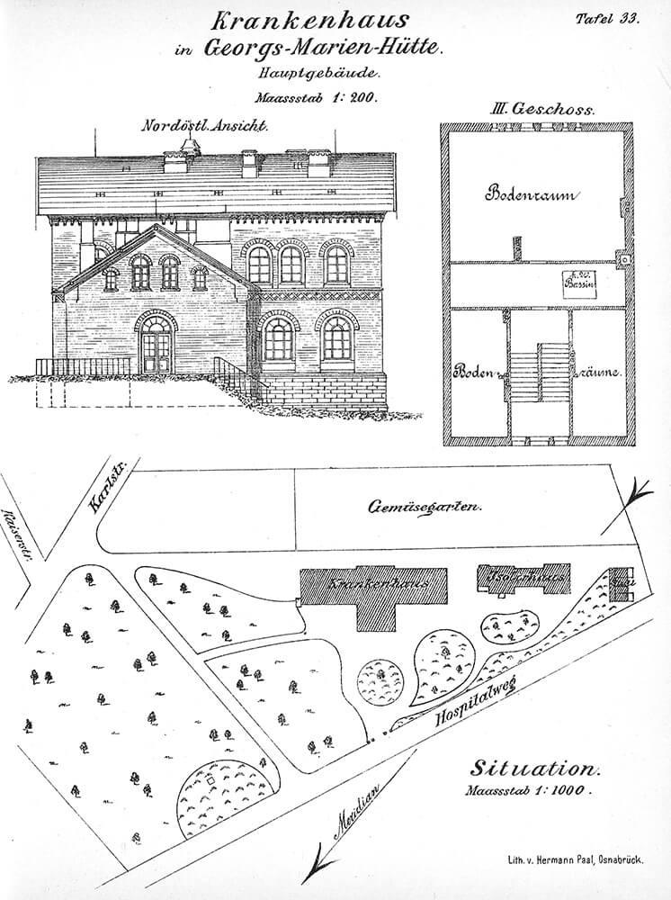 Gesamtansicht Klinikum um 1890